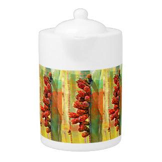 Pot peint de thé de cactus de tuyau de fourneau