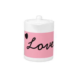 Pot rose de thé d'amour
