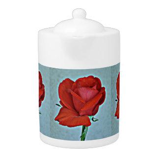 Pot rouge sang de thé de rose