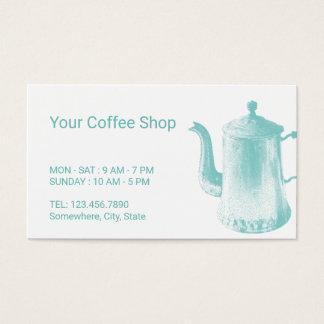 Pot vintage de café de poinçon de fidélité de café cartes de visite