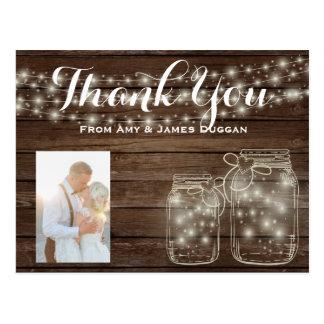 Carte Postale Pots de maçon rustiques de mariage de carte photo