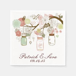 Pots et fleurs de maçon de mariage serviettes en papier