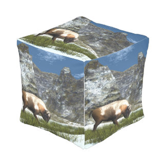 Pouf D'extérieur Bison dans la montagne
