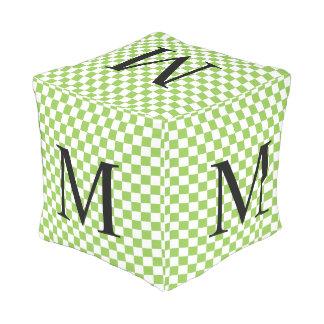 Pouf D'extérieur Monogramme simple avec le damier de vert jaune