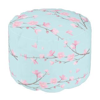 Pouf Fleurs de cerisier - bleu de ciel