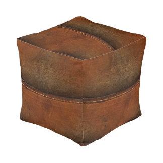 Pouf Sellez le cuir bronzage de Faux