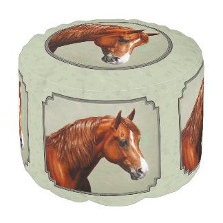 Pouf Vert sauge de cheval de Morgan de châtaigne