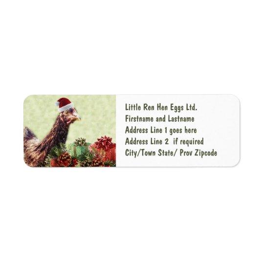 Poulet de vacances de Noël dans le casquette de Étiquette D'adresse Retour