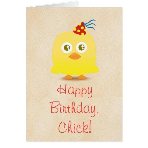 Poulet mignon avec la carte de joyeux anniversaire