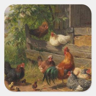 Poulets vintages et autocollant de coq