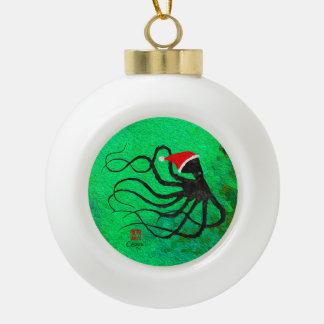 Poulpe 2 de Noël - ornement en céramique de boule