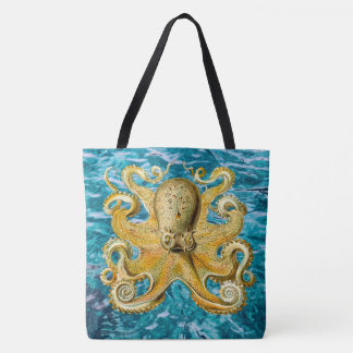 poulpe bleu de cool de sac fourre-tout à plage