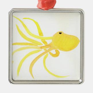 Poulpe jaune ornement carré argenté