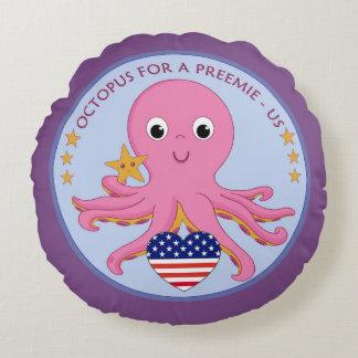 Poulpe rond de carreau de logo pour un Preemie USA Coussins Ronds