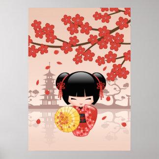 Poupée rouge de Sakura Kokeshi - geisha japonais Poster