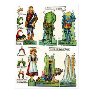 Poupées de papier de conte de fées carte postale