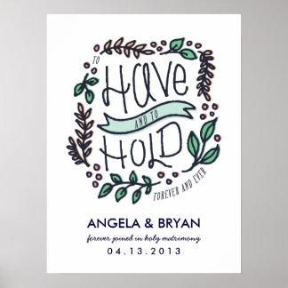 Pour avoir et tenir l'affiche de date de mariage