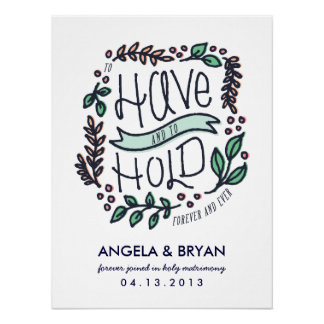 Pour avoir et tenir l'affiche de date de mariage poster