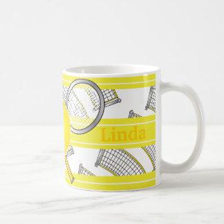 Pour des joueurs de tennis - jaune mug blanc