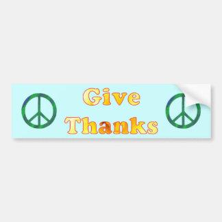 Pour la paix, donnez les mercis, art de mot de autocollant de voiture