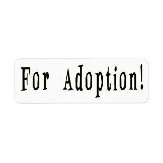 Pour l'étiquette d'adoption étiquette d'adresse retour