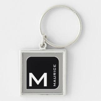 pour lui un noir moderne. monogramme de logo porte-clé carré argenté