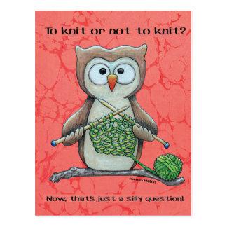 Pour tricoter ou ne pas tricoter le hibou carte postale