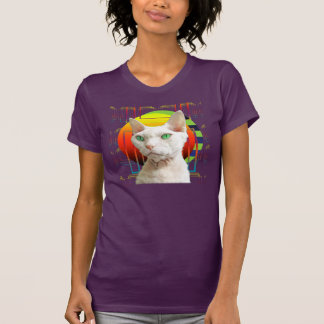 Pourpre blanc de Casper de chat du T-shirt |