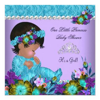 Pourpre bleu turquoise de fille de princesse baby carton d'invitation  13,33 cm