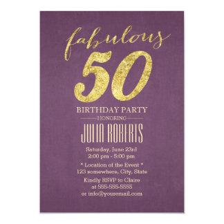 Pourpre chic et anniversaire 50 fabuleux d'or carton d'invitation  12,7 cm x 17,78 cm