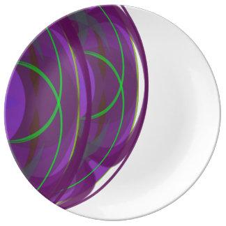 Pourpre circulaire pointu de conception et plat de assiettes en porcelaine