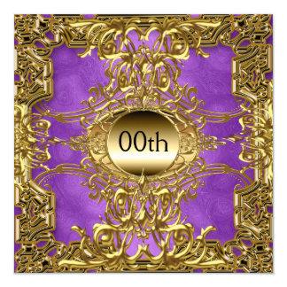 Pourpre de luxe d'or toute fête d'anniversaire carton d'invitation  13,33 cm
