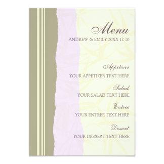Pourpre et beige de menu de mariage carton d'invitation  12,7 cm x 17,78 cm