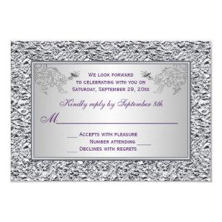 Pourpre et carte florale II d'aluminium argenté Carton D'invitation 8,89 Cm X 12,70 Cm