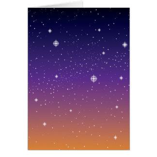 Pourpre et ciel étoilé de coucher du soleil d'or carte de vœux