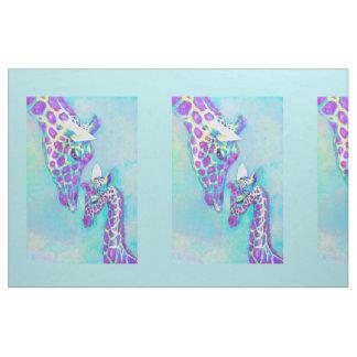 Pourpre et girafes d'Aqua grandes Tissu