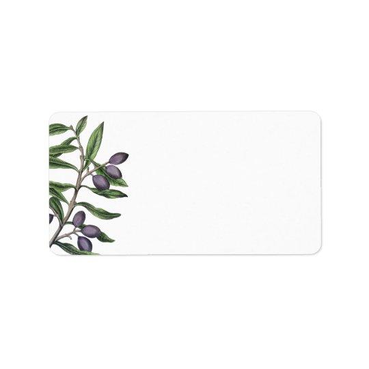 Pourpre vert de la branche | d'olivier étiquette d'adresse