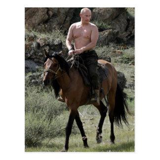 Poutine sans chemise monte un cheval carte postale