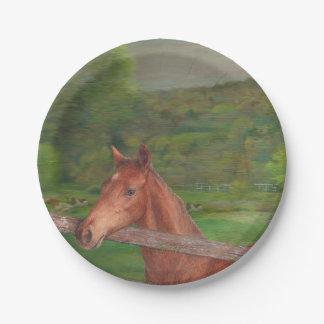 Pré illustré d'été de cheval assiettes en papier