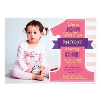 Premier anniversaire de fille d'invitation de fête carton d'invitation  12,7 cm x 17,78 cm