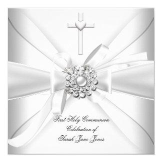 Premier argent de blanc de sainte communion de carton d'invitation  13,33 cm