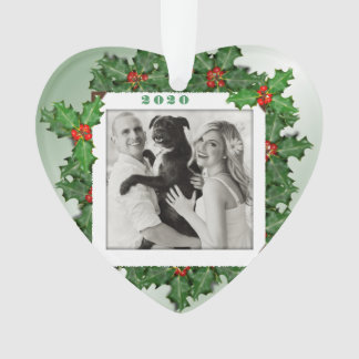 Premier feuille de houx de Noël de photo en forme