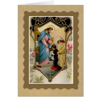 Premier garçon de sainte communion avec Jésus et Carte De Correspondance
