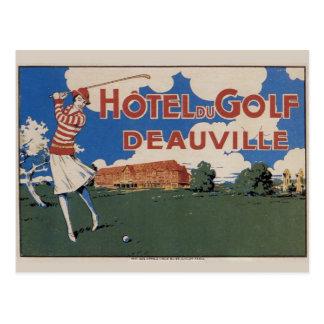 Premier golfeur français vintage de femelle de la carte postale