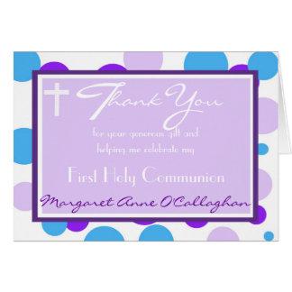 Premier Merci de communion - fille Carte De Correspondance