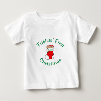 Premier Noël de triplets T-shirt Pour Bébé