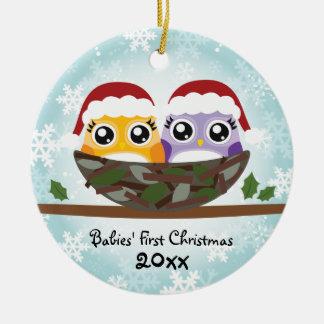 Premier ornement de hibou de Noël des bébés