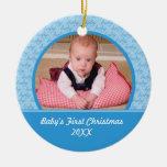 Premier ornement de Noël de bébé bleu