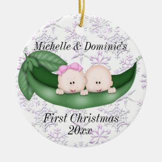Premier ornement de Noël de jumeaux