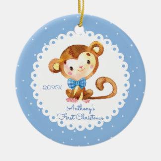 Premier ornement de Noël de singe du bébé mignon
